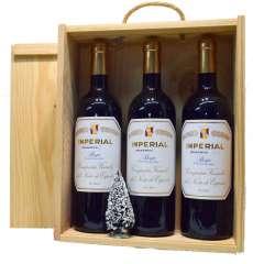 Rødvin 3 Imperial  en caja de madera